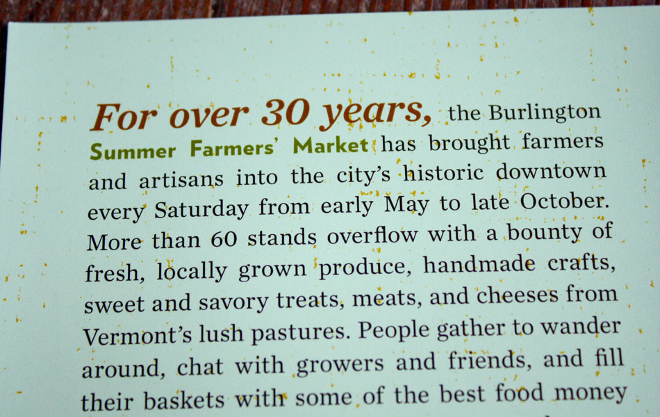 Burlington Farmers' Market brochure