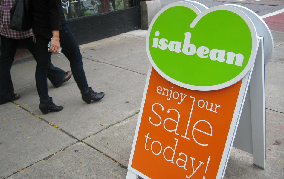 Isabean sandwich board sign