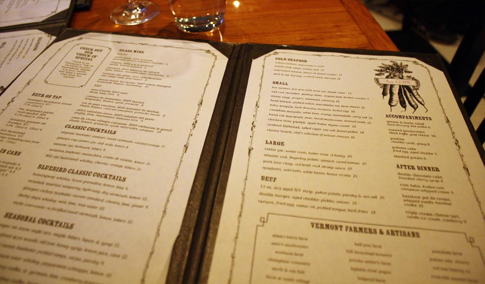 Bluebird Tavern: Menu